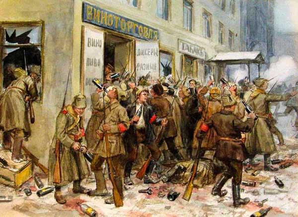 Погром винного магазина. Художник Иван Владимиров (1869 - 1947)