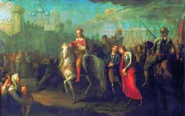Г. И. Угрюмов. Торжественный въезд Александра Невского в город Псков после одержанной им победы над немцами, 1793 г.
