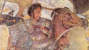 Древнеримская мозаика из Помпей, изображающая битву Александра Македонского и Дария III при Иссе.