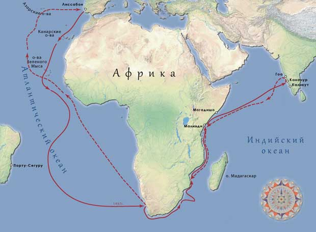 Карта путешествия Васко да Гама